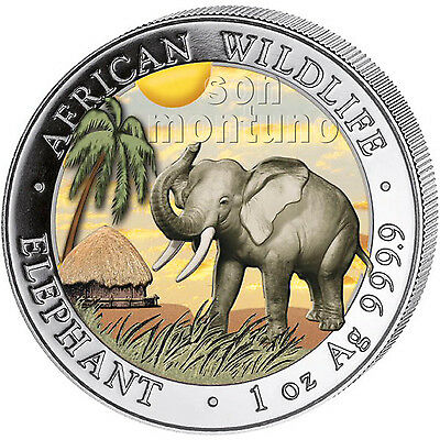 "2017 Somalian ELEPHANT ""DAY"" COLORIZED African Wildlife 1oz Silver Coin MTG=5000"
