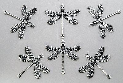 #4037 ANTIQUED SS/P DRAGONFLY W/2 CONNECTING RINGS - 6 Pc Lot