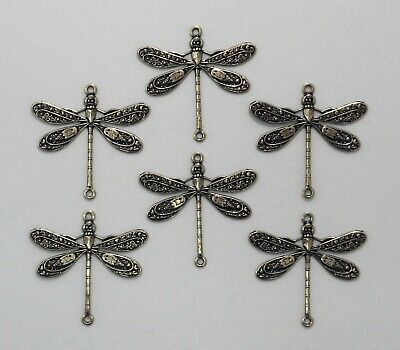 #4037 ANTIQUED GOLD DRAGONFLY W/2 CONNECTOR RINGS - 6 Pc Lot