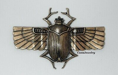 #3006 LRG DAPPED LONG WINGED ANTIQUED GOLD SCARAB BEETLE - 1 Pc Lot