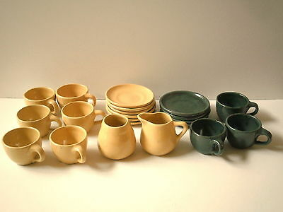 BYBEE Pottery Demitasse set 9 cups 10 saucers plus creamer and sugar