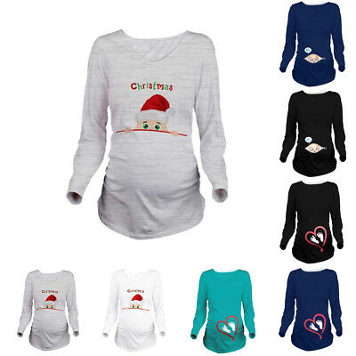 Xmas Pregnant Women Maternity Tops Long Sleeve Loose Blouse Baby shower Gift Tee