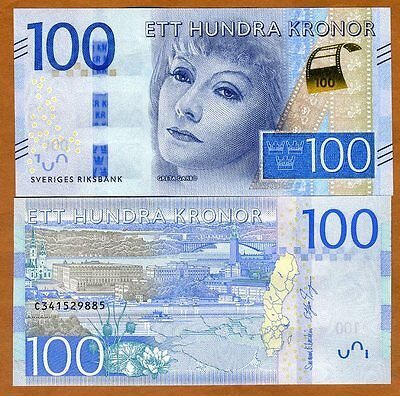Sweden, 100 Kronor, 2016, P-New, Redesigned UNC, Greta Garbo