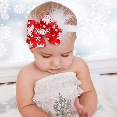 Baby Toddler Girls Christmas Bow Feather Headband Snow Flower Hairband Headwear