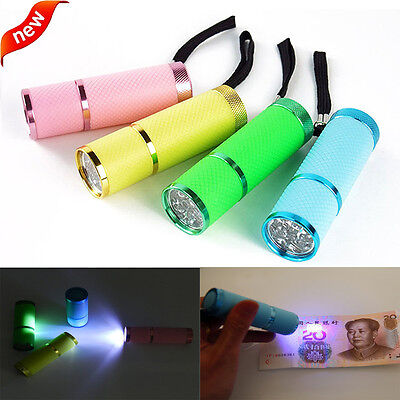Mini Aluminum UV Ultra Violet 9 LED Flashlight Torch Light Lamp Super Flashlight