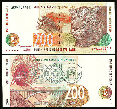SOUTH AFRICA 200 RAND 1999 UNC P.127b SIGN 8