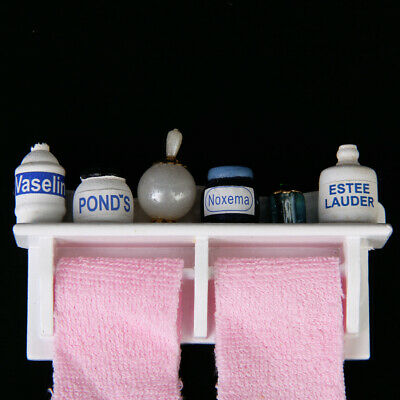 12th Scale Miniature Bathroom Wooden Rack with Pink Towel Doll House Accessory