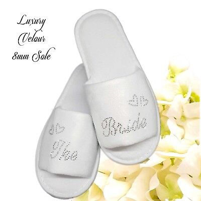 Bride Bridesmaid Wedding Hen Bridal Slippers Clear Diamante Script LUXURY VELOUR