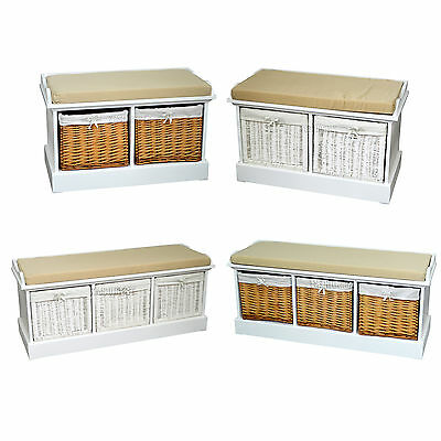 FoxHunter Wood Storage Bench Seat With 2/3 Wicker Basket Drawer Cabinet Cushion