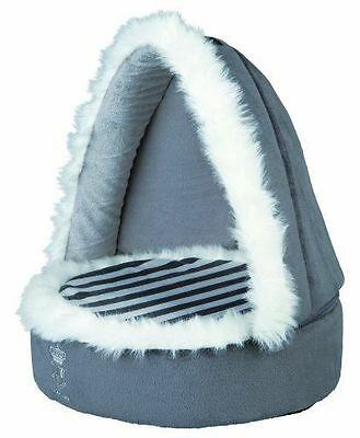 Trixie My Prince Grey Cuddly Cave Cat Kitten Small Dog Posh Hooded Bed 37811Hs