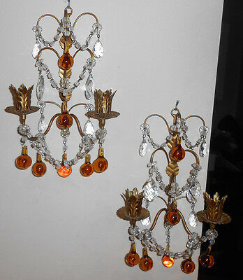 Vintage Antique Wall Sconce Chandelier 2 Gilt Candle Crystal Italian Amber Drop