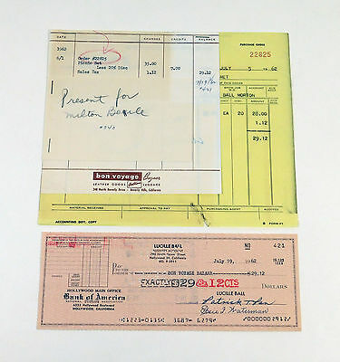 Lucille Ball 1962 Check & Receipt Gift for Milton Berle from Lucille Ball Estate