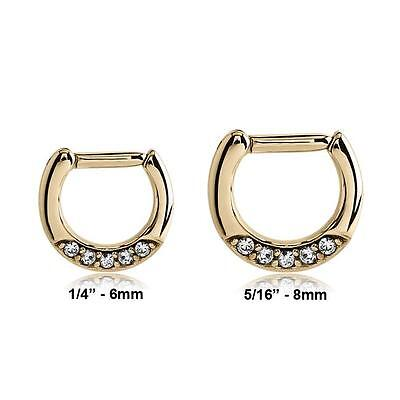 Zircon Gold 316L Surgical Steel Hinged Septum Clicker Nose Ring Hoop CZ 14G 16G