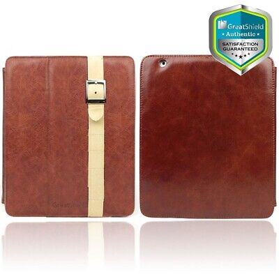 GreatShield Leather Protector Case Cover w/ Stand for Apple iPad 4th Gen - Brown