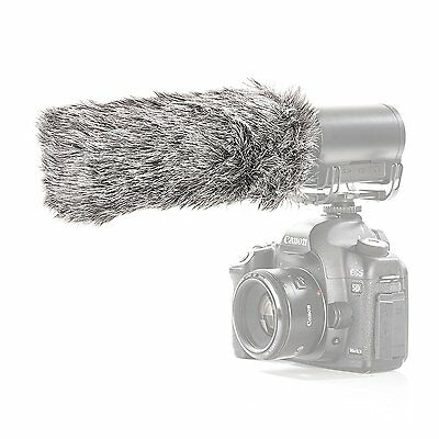 "Movo WS-G3 Wool Furry Microphone Windscreen - Large Shotgun Mics up to 7"" X 55mm"
