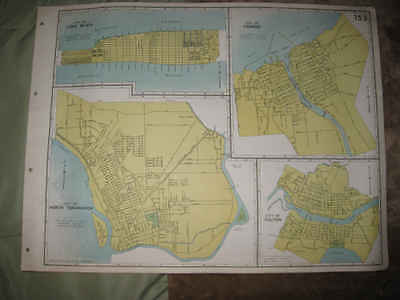 Huge Antique 1941 Long Beach Oswego Fulton North Tonawanda New York Map Fine Nr