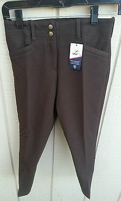 NWT ARIAT BRITTANY $74 Girls Size 10 Cotton Front Zip Riding Breeches Pants Bark