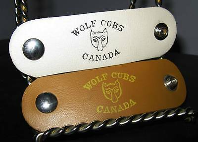 Lot of 2 Wolf Cubs Canada Leatherette Snap Woggle Tie Slides