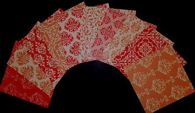"**DAMASK** 10 Beautiful Scrapbooking/Cardmaking Papers 15cm x 15cm (6"" x 6"")"