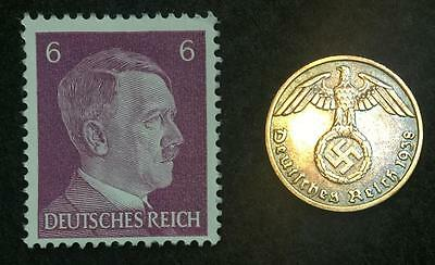 Authentic German wwii Rare Coin and Stamp WORLD WAR 2