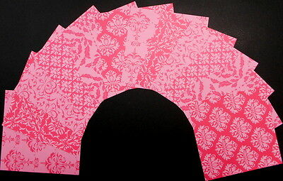 "PINK DAMASK x 12 Beautiful Scrapbooking/Cardmaking Papers 15cm x 15cm (6"" x 6"")"
