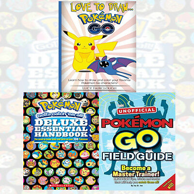 Pokemon Go Collection 3 Books Set (Love to Draw & The Unofficial Field Guide)New