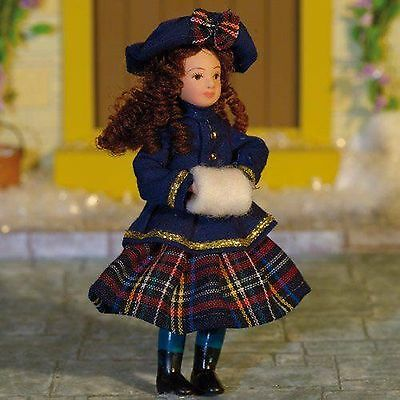 "1/12Th  Dolls House  "" Victorian""  Girl  In  Blue Jacket And Tartan Skirt"