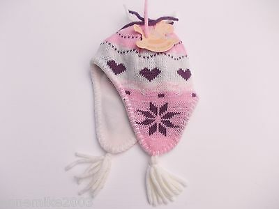 BNWT baby girls warm winter pink and beige heart fleeced lined hat 3-12 months