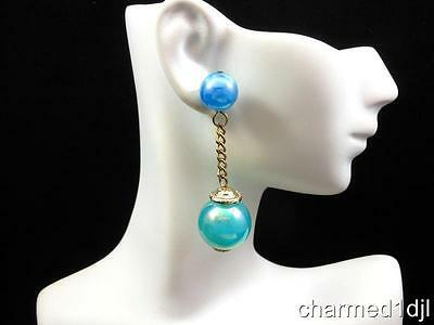 Marvella Blue Lucite Dangle Statement Ball Drop Earrings Iridescent 1960's Fun!
