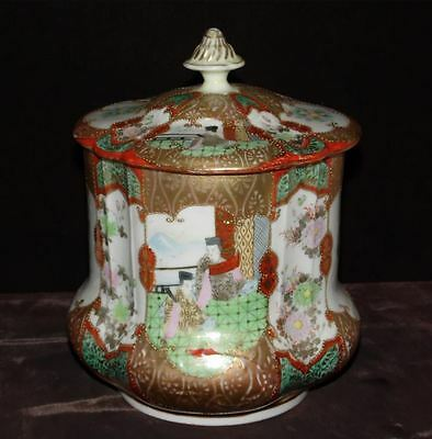 Antique Hand Painted Porcelain Biscuit Cracker Jar, Moriage