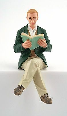 1/12Th Scale Dolls House Man With Book Sitting Resin Figure