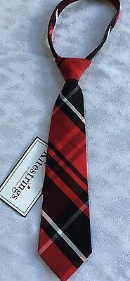 Boys Small 2T 3T Boutique Kitestrings Christmas Tie Red Black Plaid NEW NWT