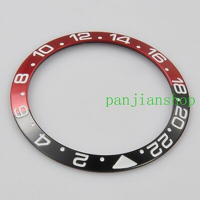 38mm Red&Black Ceramic/Titanium Bezel insert Fit for GMT Automatic 40mm Watch