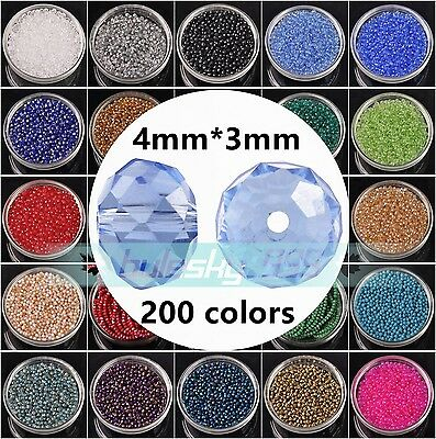 100pcs 4mm(4x3mm) Rondelle Faceted Crystal Glass Loose Spacer Beads lot