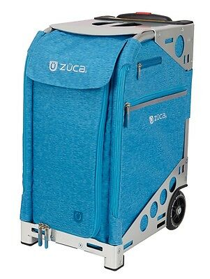 Zuca Professional Wheelie Case for Stenograph in Aqua with Silver Frame