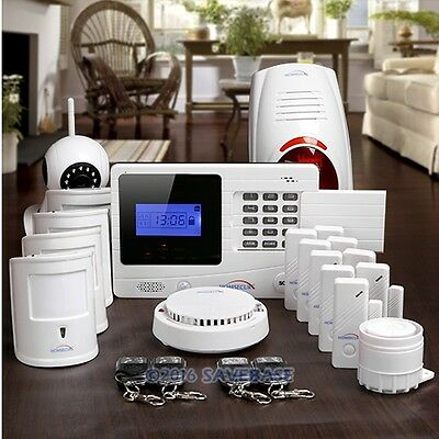 HOMSECUR Wireless&Wired GSM SMS Pet Friendly Burglar Alarm System+720P IP Camera
