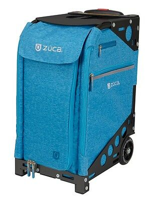 Zuca Professional Wheelie Case for Stenograph in Aqua with Black Frame