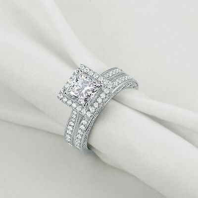 2.8Ct Princess Cut White CZ 925 Sterling Silver Wedding Band Engagement Ring Set