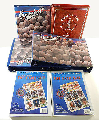 Lot of (7) Baseball Trading Card 3-Ring Album Binders with (200) Pocket Pages