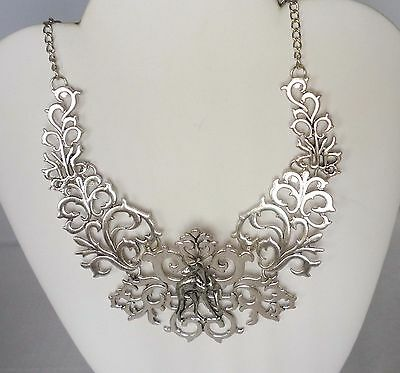 Scrolled Silvertone Collar Necklace with Looking Back Greyhound Dog