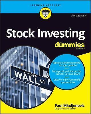 Stock Investing for Dummies by Paul Mladjenovic (2016, Paperback)