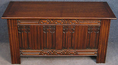 Jacobean Style Carved Oak Coffer / Blanket Box