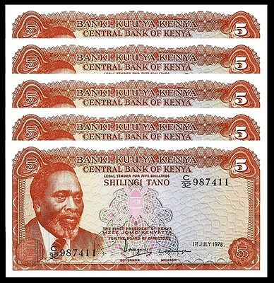 Kenya 5 Shillings 1978 Unc 5 Pcs Consecutive Lot P.15