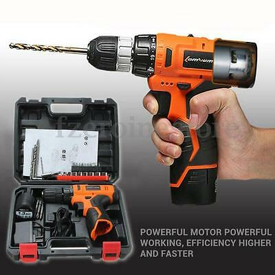 12V Lithium-Ion Cordless Electric Combi Drill Variable Speed Driver w/ Bits Set
