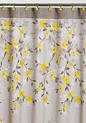 Saturday Knight Spring Garden Floral Fabric Shower Curtain New
