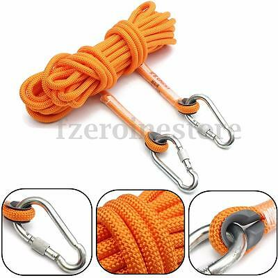 10M Safety Auxiliary Rope Climbing Protection Cord Rappelling & 2 Carabiner Gear