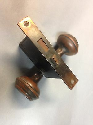 Antique Vintage Copper Flash Japanned Door Knob Lock Set Parts