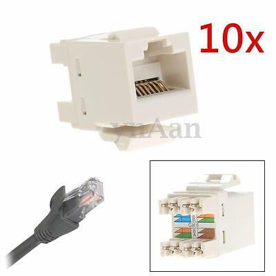 10 Pcs CAT 6 RJ45 8P8C Punchdown Keystone Modular Ethernet Snap-in Jack Network