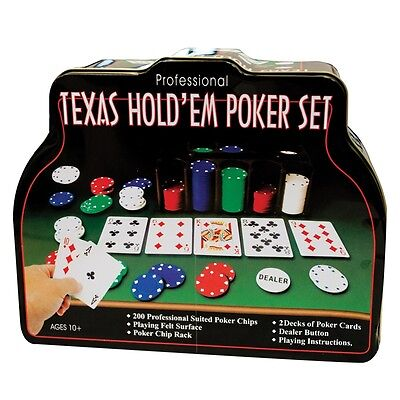 206Pc Texas Hold'em Poker Chip Set 2 Decks Playing Cards Professional Xmas Gift