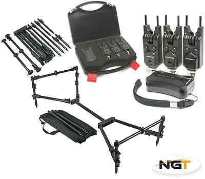 SABER Wireless 3+1 Bite Alarm Set Carp Fishing Snag Bars + NGT Nomadic Rod Pod